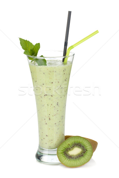 Kiwi melk smoothie mint geïsoleerd witte Stockfoto © karandaev