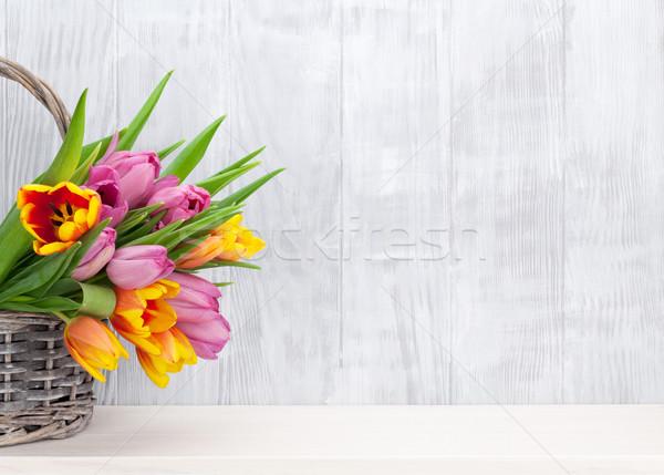 Colorful tulip flowers bouquet Stock photo © karandaev