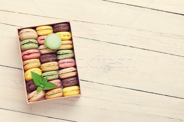 Colorful macaroons in a gift box Stock photo © karandaev