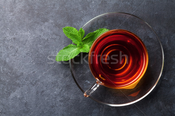 Tea cup with mint Stock photo © karandaev