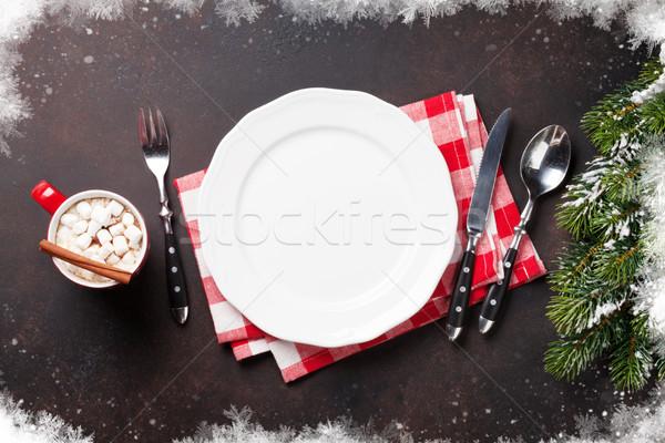 Christmas dinner plate, silverware, fir tree, hot chocolate Stock photo © karandaev