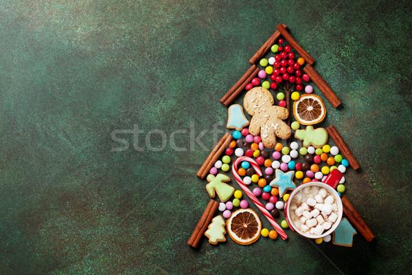 Candy cookie cannella albero di natale top Foto d'archivio © karandaev