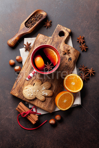 Navidad vino ingredientes superior vista hombre Foto stock © karandaev