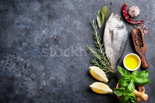 Raw fish cooking ingredients Stock photo © karandaev