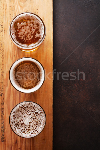 Lager beer mugs Stock photo © karandaev