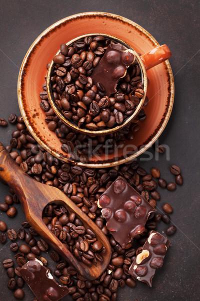 Tazza di caffè fagioli cioccolato pietra top Foto d'archivio © karandaev