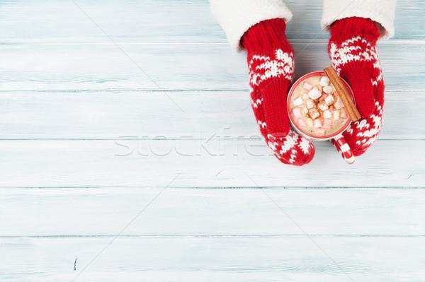 Feminino mãos chocolate quente marshmallow acima Foto stock © karandaev