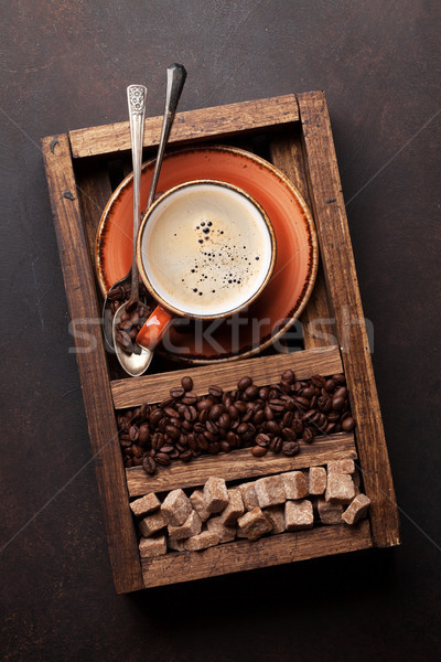 Kahve fincanı fasulye esmer şeker üst görmek Stok fotoğraf © karandaev