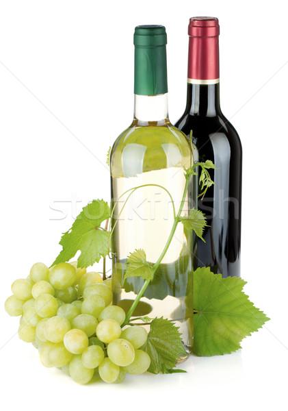 Dos vino botellas uvas aislado blanco Foto stock © karandaev