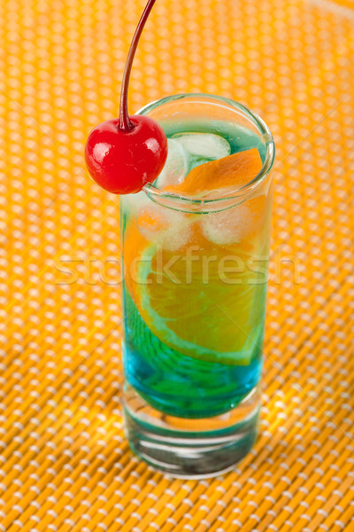 Alcohol cocktail with blue curacao and orange Stock photo © karandaev