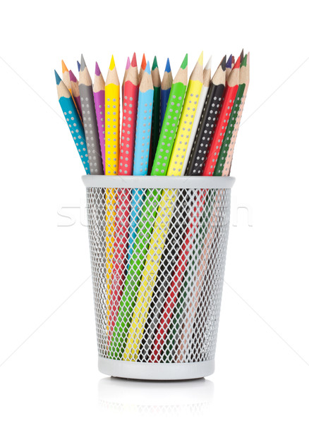 Various colour pencils in holder Stock photo © karandaev