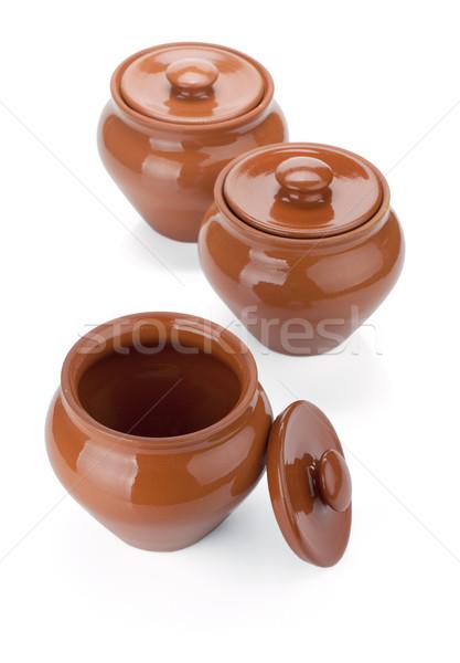 Three clay pots Stock photo © karandaev