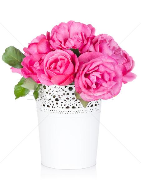 Ramo aumentó flores jarrón aislado blanco Foto stock © karandaev