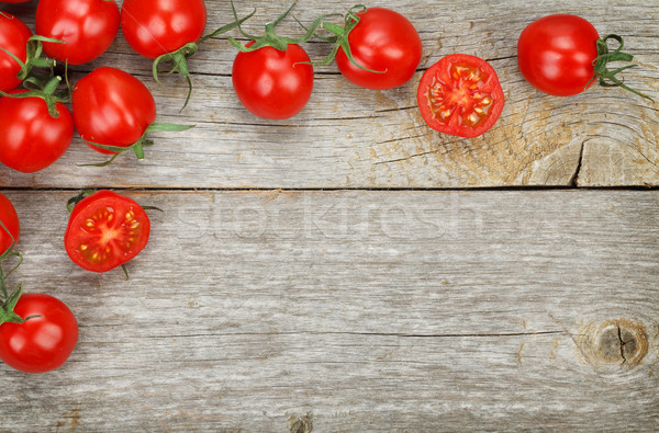 Stock photo: Cherry tomatoes on wooden table