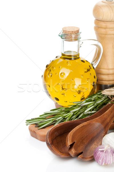 Fűszer gyógynövények fűszerek izolált fehér üveg Stock fotó © karandaev