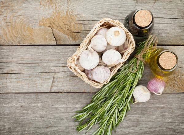 Gyógynövények fűszer öntet fa asztal copy space üveg Stock fotó © karandaev