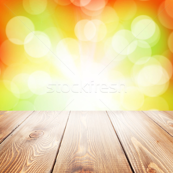 Autumn nature background with wooden table Stock photo © karandaev