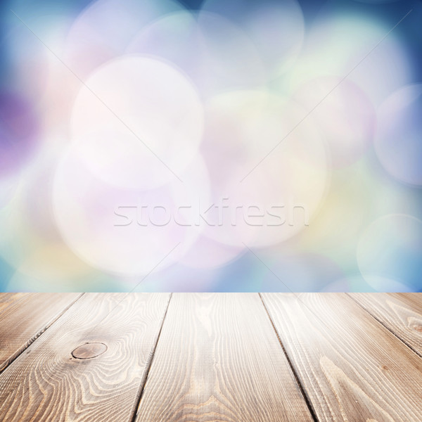 Autumn nature background with wooden table Stock photo © karandaev