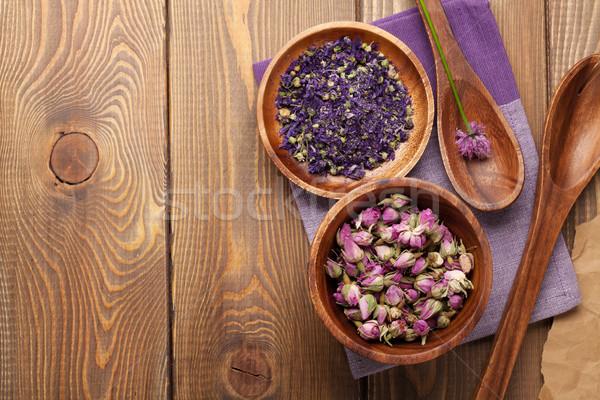 Stok fotoğraf: Baharatlar · ahşap · masa · bo · çiçek