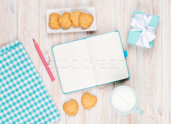Stok fotoğraf: Notepad · fincan · süt · kalp · kurabiye