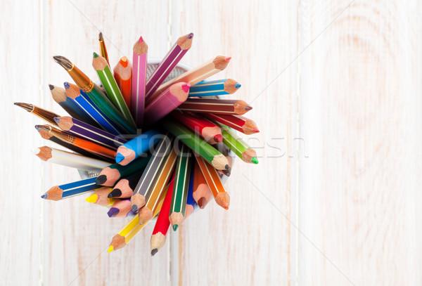 Stock fotó: Színes · ceruzák · fából · készült · iroda · asztal · copy · space
