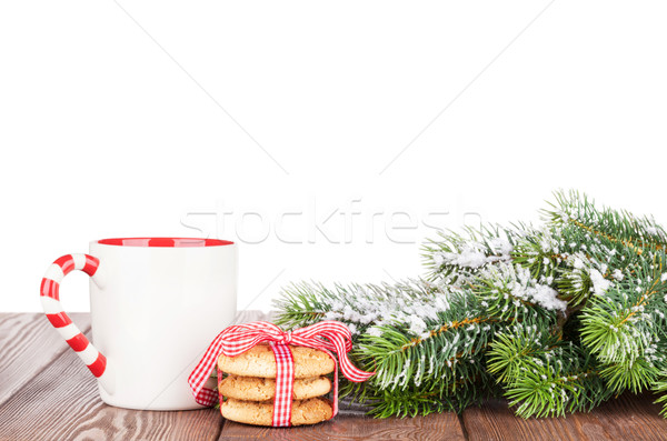 Arbre de noël branche cookies vin tasse isolé Photo stock © karandaev