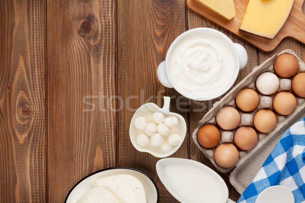 Dairy products. Sour cream, milk, cheese, egg, yogurt and butter Stock photo © karandaev
