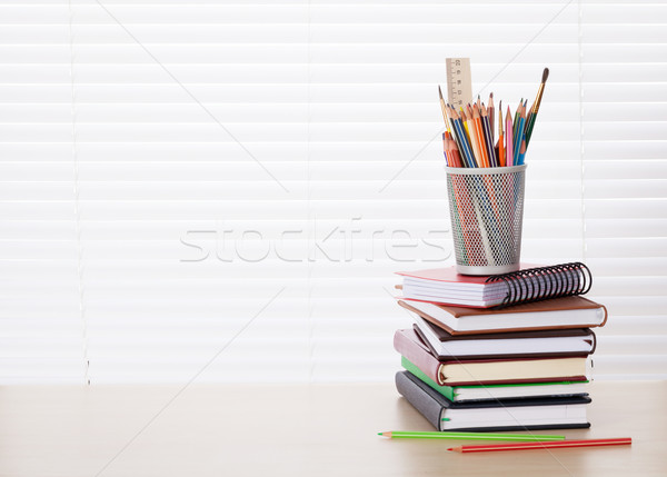 Stock photo: Office desk workplace with supplies