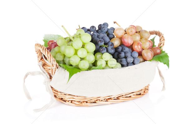 Сток-фото: красочный · виноград · корзины · изолированный · белый · продовольствие
