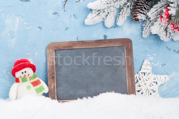 Navidad pizarra muñeco de nieve vista espacio de la copia Foto stock © karandaev