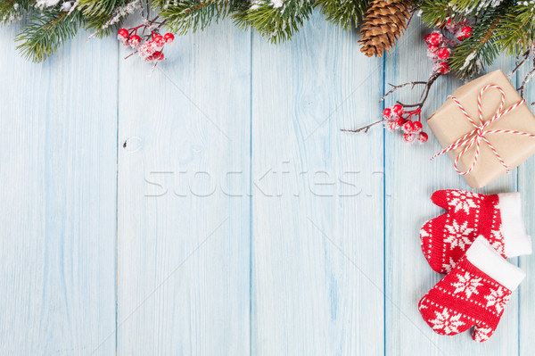 Christmas background with fir tree and gift Stock photo © karandaev