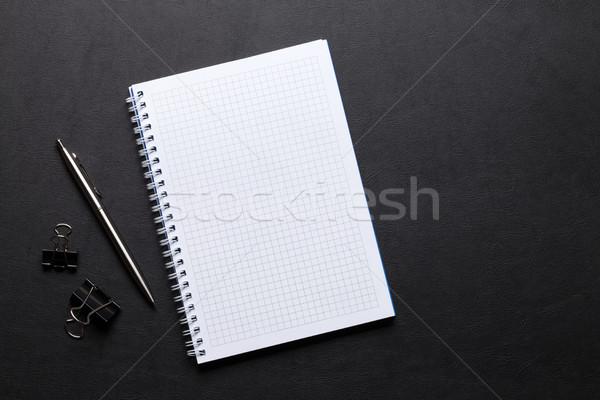 Office leather desk table with pen Stock photo © karandaev