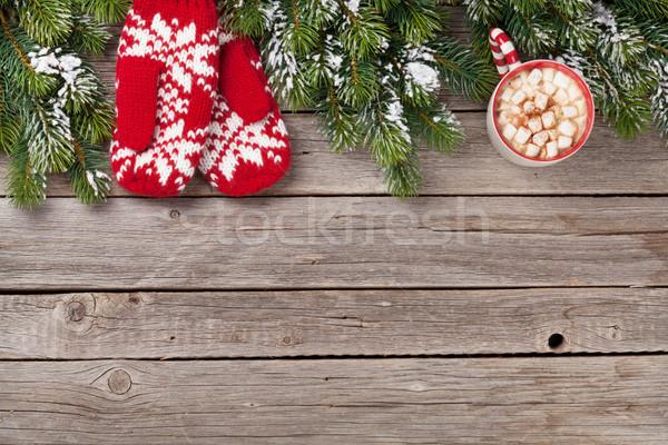 Foto stock: Navidad · mitones · chocolate · caliente · malvavisco · mesa · de · madera
