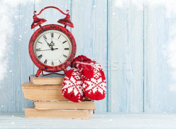 Natale sveglia muffole view copia spazio clock Foto d'archivio © karandaev
