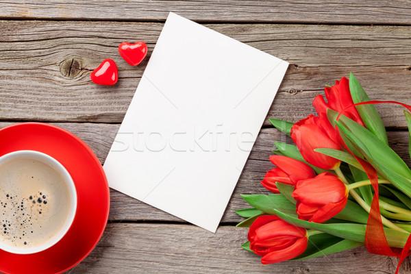 Stock fotó: Piros · tulipánok · üdvözlőlap · cukorka · szívek · valentin · nap