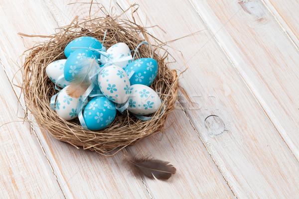 Pasqua blu bianco uova nido legno Foto d'archivio © karandaev