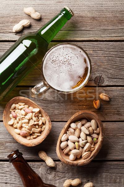 Alman birası bira kupa ahşap masa ahşap Stok fotoğraf © karandaev