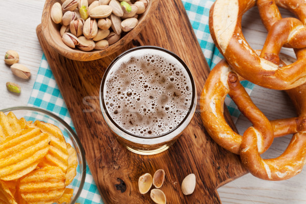 Lager beer and snacks Stock photo © karandaev