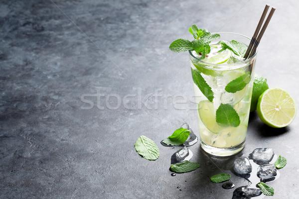 Mojito coquetel escuro pedra tabela cópia espaço Foto stock © karandaev