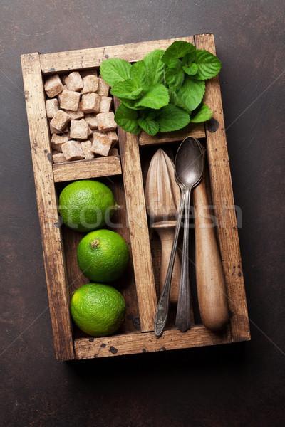 Mojito cocktail ingredienti finestra bar accessori Foto d'archivio © karandaev