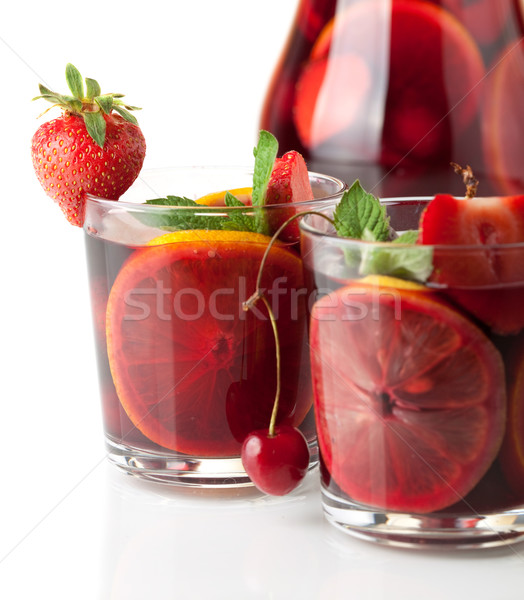 Refreshing fruit sangria. Closeup Stock photo © karandaev