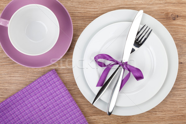 Stockfoto: Vork · mes · platen · koffiekopje · servet · houten · tafel