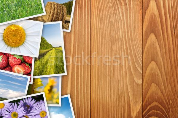 Wydrukowane zdjęcia kolaż drewniany stół kopia przestrzeń Zdjęcia stock © karandaev