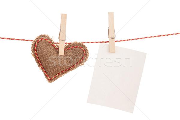 Photo frame dia dos namorados brinquedo coração enforcamento corda Foto stock © karandaev