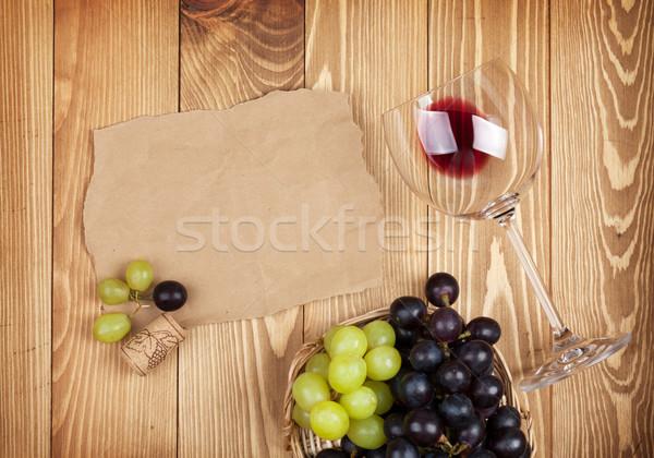 赤ワイン ガラス ブドウ 木製のテーブル コピースペース 食品 ストックフォト © karandaev