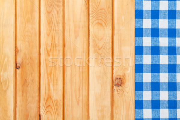Blauw handdoek houten keukentafel exemplaar ruimte Stockfoto © karandaev