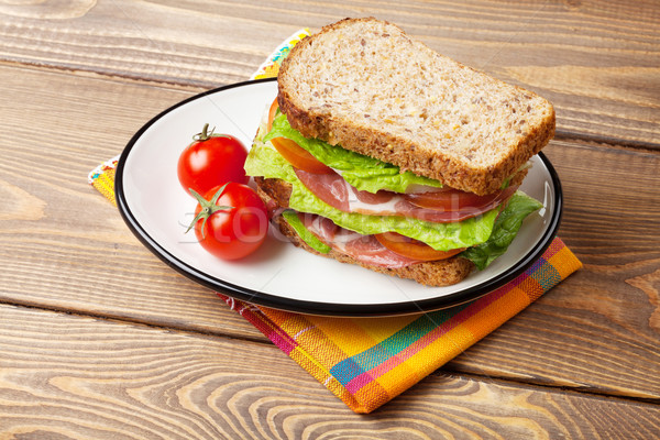 Sandwich with salad, ham, cheese and tomatoes Stock photo © karandaev