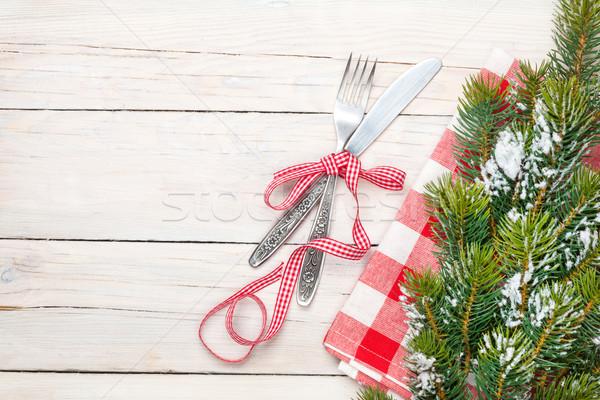 столовое серебро рождественская елка белый деревянный стол копия пространства Сток-фото © karandaev