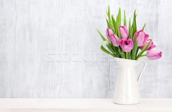 Fresh pink tulip flowers bouquet Stock photo © karandaev