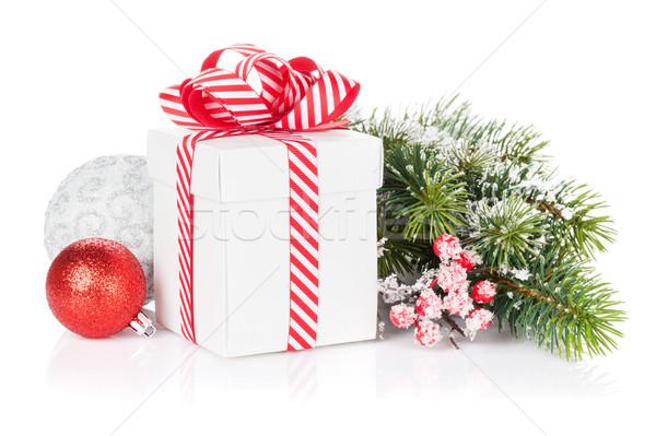 Stok fotoğraf: Noel · hediye · kutusu · şube · yalıtılmış · beyaz